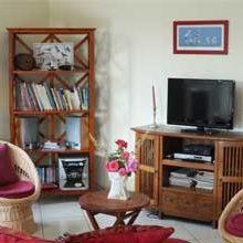 Salon télévision et bibliothèque